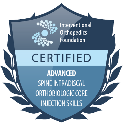 IOF certification badge: advanced spine intradiscal