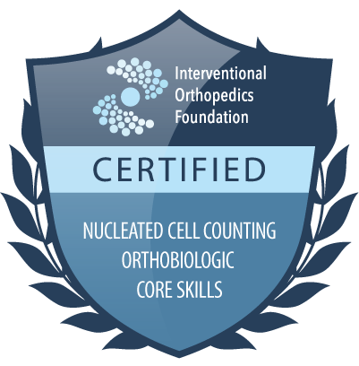 IOF certification badge: nucleated cell counting